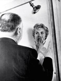Alfred Hitchcock and Janet Leigh on-set of Psycho (1960)