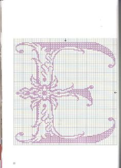 lovely lavender cross stitch letter E Monogram Cross Stitch, Cross Stitch Rose, Cross Stitch Alphabet, Counted Cross Stitch Patterns, Cross Stitch Embroidery, Monogram Alphabet, Alphabet And Numbers, Embroidery Alphabet, Cross Stitching