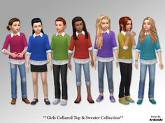 Included is a set of solid colored sweaters with an attached white collared undershirt for your girl Sims to wear to school, party and for everyday! Please do not upload anywhere else, alter or...