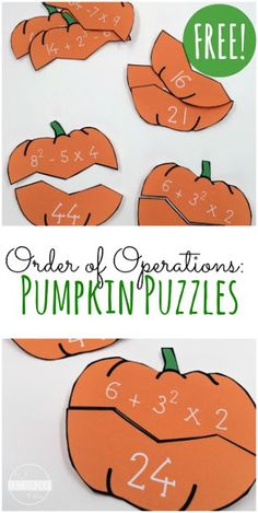 FREE Pumpkin Order of Operations Puzzles