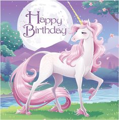 Creative Converting 16 Count 3 Ply Happy Birthday Unicorn Fantasy Lunch Napkins, Pink/Purple