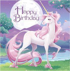 Creative Converting 16 Count 3 Ply Happy Birthday Unicorn Fantasy Lunch Napkins, Pink/Purple
