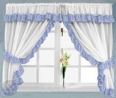 """GINGHAM CHECK KITCHEN CURTAINS - Ready Made Slot Top White Net Curtain Set Blue 150"""" x 54"""" ( 381x137cm )"""