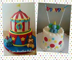 Circus cake with baby smash cake