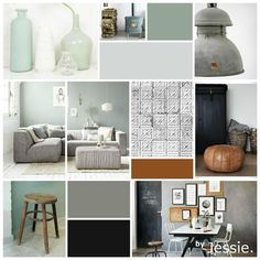 byJessie. Interieurontwerp Moodboard | Woonkamer | Vergrijsd | Groen | Cognac | Stoer
