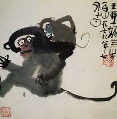 Vang Yani Monkey Illustration, Travel Illustration, Pattern Illustration, Monkey Pattern, Year Of The Monkey, Pen And Paper, Chinese Painting, My Animal, Japanese Art