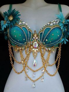 Aqua turquoise blue green mermaid gold bustier