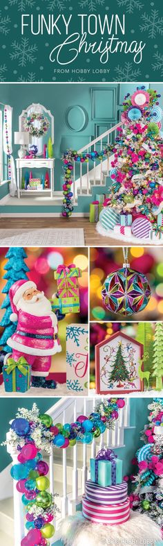 """Take """"merry and bright"""" to a whole new level with our super colorful Funky Town Christmas collection! Take """"merry and bright"""" to a whole new level with our super colorful Funky Town Christmas collection! Whoville Christmas, Merry Christmas To All, Cozy Christmas, Diy Christmas Ornaments, Diy Christmas Gifts, Christmas Holidays, Christmas 2019, Christmas Ideas, Holiday Decor"""