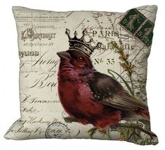 Crowned Bird on invoice Pillow Cover In Red. $35.00, via Etsy.