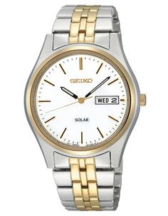 Seiko Solar Mens Watch - White Dial - Two-Tone - 10 Month Power Reserve
