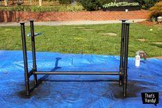 DIY Plumbing Leg Table Jays gonna kill me Diy Furniture, Diy Table, Outdoor Screens, Wood And Metal Desk, Industrial Style Desk, Diy Plumbing, Porch Table, Diy Porch, Diy Playhouse