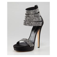 Casadei Ankle-Wrap Crystal Sandal Pump