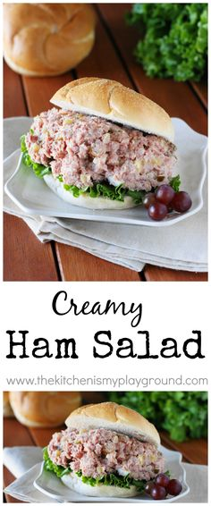Creamy Ham Salad ~ perfect comfort food for using up those ham leftovers. What a great deli salad recipe. Ham Salad Recipes, Pork Recipes, Dinner Recipes, Cooking Recipes, Sandwich Recipes, Low Carb Ham Salad Recipe, Sandwich Fillings, Soup And Salad, Pasta Salad