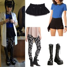 Love the shirt and shorts on the model. Not so much the boots or skirt. Ncis Abby Sciuto, Halloween Outfits, Halloween Costumes, Dress With Boots, Dress Up, Peter Pan Collar Top, Fashion Templates, Gothic Outfits, Lolita Fashion