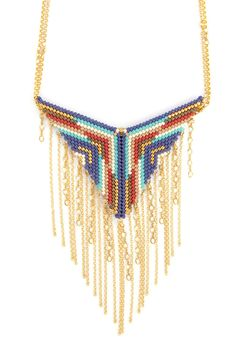Blue Mix Chain Tassel Necklace - Chan Luu