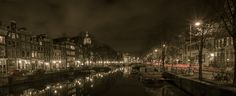 AMSTERDAM by Sam Smallwoods on 500px A view down one of the canals at night, a time when Amsterdam really comes alive.
