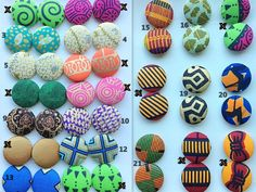 African Fabric Covered Earrings Sold Per Pair by AZVKA on Etsy, $6.50