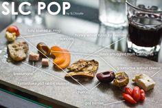 Food Diagram of a Salt Lake City pop up restaurant Utah Food, Pop Up Restaurant, Tasty, Yummy Food, Slc, Tofu, Sausage, Berries, Cherry