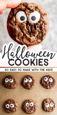 Do you want to make a Halloween treat youll actually have fun making with the kids and that will look exactly like in the picture Try these Cute Monster Eye Cookies Theyr. Halloween Brownies, Halloween Cookie Recipes, Dessert Halloween, Halloween Treats For Kids, Easy Cookie Recipes, Baking Recipes, Halloween Vergnügen, Cute Halloween Food, Halloween Biscuits