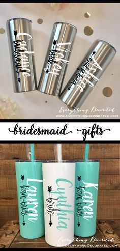 The Perfect Gift for Weddings, Birthdays, Holidays, and More. We Personalize This Stainless Steel Thermal Bottle Tumbler with Any Name/Title of Your Choice. We can Customize The Name on This Tumbler with Any of Our Vinyl Colors (Title Must Remain Black in Color) - Choose Her Favorite! Each Tumbler Comes with a Straw and Push Down Lid. These Stainless Bottles Keeps Drinks Cold for 24 Hours and Hot for 12 Hours.