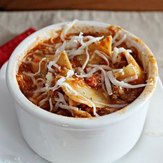 table for seven: Cheesy Lasagna Soup