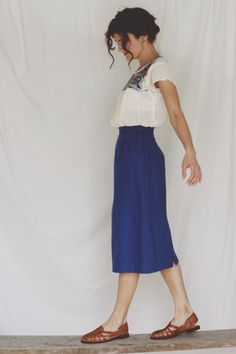 mexican embroidered blouse  /  vintage blue pencil skirt…