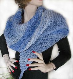 Hand knit Shawl Wrap 'Oracolo' by lizziemac7 on Etsy, $48.00