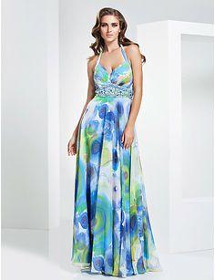 Sheath/Column Halter Floor-length Chiffon Evening/Prom Dress - USD $ 249.99