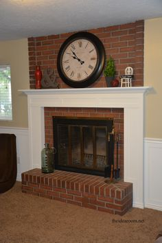Red brick fireplace makeover offers an aesthetic raise to a whole place. Expert decorating tips will help you give your brick fireplace an excellent face-lift. Brick Fireplace Mantles, Brick Fireplace Makeover, Home Fireplace, Fireplace Remodel, Fireplace Surrounds, Fireplace Design, Fireplace Ideas, Wood Mantle, Bedroom Fireplace