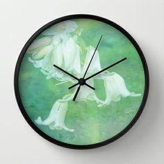 White Bluebell Wall Clock by Lynn Bolt - $30.00