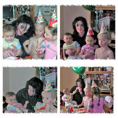 Blanket celebrates his first birthday on 21st February 2003 with his father Michael Jackson, his brother Prince Michael (age 6) and sister Paris (age 4).