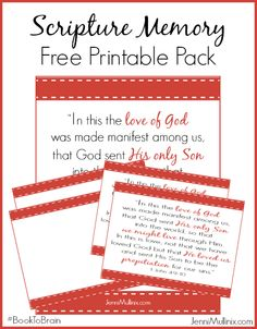 """In This Is Love"" Scripture Memory Printable Pack - great for Valentine's Day or any time of the year! #BookToBrain"