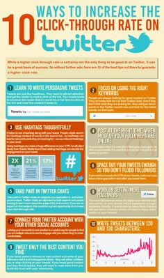 10 Ways to Increase the Click-Through Rate on Twitter. #socialmediamarketing #infographic