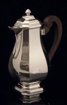 Henin Freres Sterling Silver Tea Set - The gorgeous coffee pot measures roughly 24 cm. high, 19 cm. across, including the handle  and weights 633 grams.