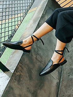 Shop Black Lace Up Square Toe Flat Shoes from choies.com .Free shipping Worldwide.$18.9