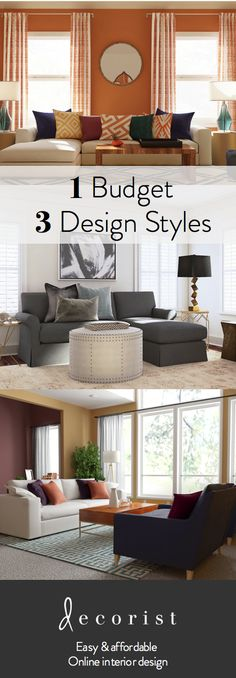 1 design budget, 3 different living rooms, 3 wow spaces