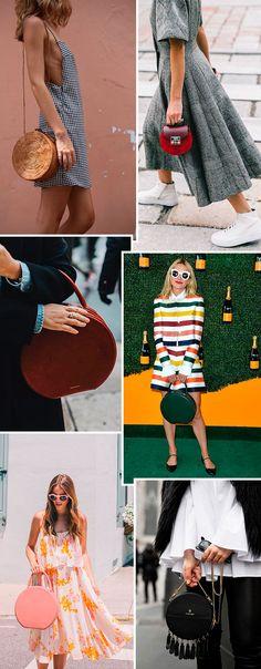 De tamanhos e materias diferentes, como a palha e o couro, a bolsa redonda é uma nova queridinha.