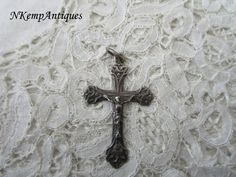 Antique silver crucifix 1910 real silver by Nkempantiques on Etsy
