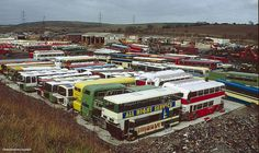 """""""More dead omnibuses than you can shake a stick at. A bus scrapyard in Barnsley London Bus, Old London, Abandoned Cars, Abandoned Vehicles, Rt Bus, Junkyard Cars, Strange Cars, Blue Bus, Leeds City"""