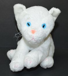 "Kids Preferred White Kitty Cat Plush Blue Eyes Bean Bag Stuffed Animal 8"" Small #KidsPreferred"