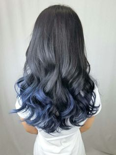 Ombre hair black to blue