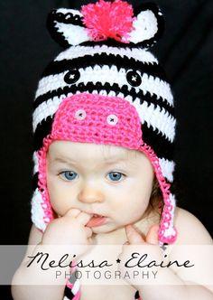 Crochet Zebra Hat. need 1-3yrs size $28 on etsy @Jess Liu Bonnett Bills {Jess for your Mom}