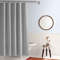 This grey shower curtain lends a touch of elegance and style to your bathroom. It's the perfect blend of simplicity and sophistication. 96 Inch Shower Curtain, Gray Shower Curtains, First Apartment, Bath Linens, Grey Bedding, Real Simple, Daughters, Interior, Bathroom Ideas