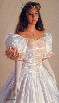 The fashion trends were influenced by the fashion industry and popular icons as women strove to recreate looks seen on their televisions. Frilly Dresses, Satin Dresses, Ball Dresses, Pretty Dresses, Beautiful Dresses, Ball Gowns, Evening Dresses, Prom Dresses, Wedding Dresses