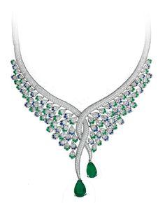 Avakian - Emeralds, blue sapphires and diamonds earrings. www.avakian.com