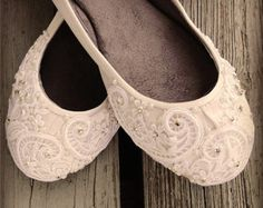 e8b7430ae738 I want these shoes French Pleat Bridal Ballet Flats Wedding Shoes - All  Full Sizes - Pick your own shoe color and crystal color