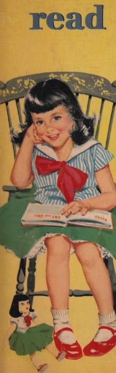 "…From the cover of ""Play School: We Learn to Read, Write, Color"" published by Merrill Co. (1950s) / via Read, Seen, Heard…"