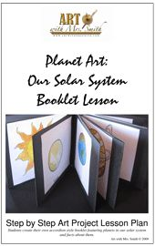 Downloadable Planet Art Lesson. Really, like how the book folds out with one planet on each page.
