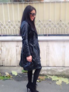 Lond leather coat 2014 fashion Black leather jacket outfit