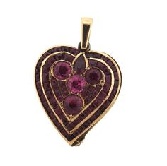 18k Rose Gold Red Stone Locket Heart Pendant Featured in our upcoming auction on November 3!